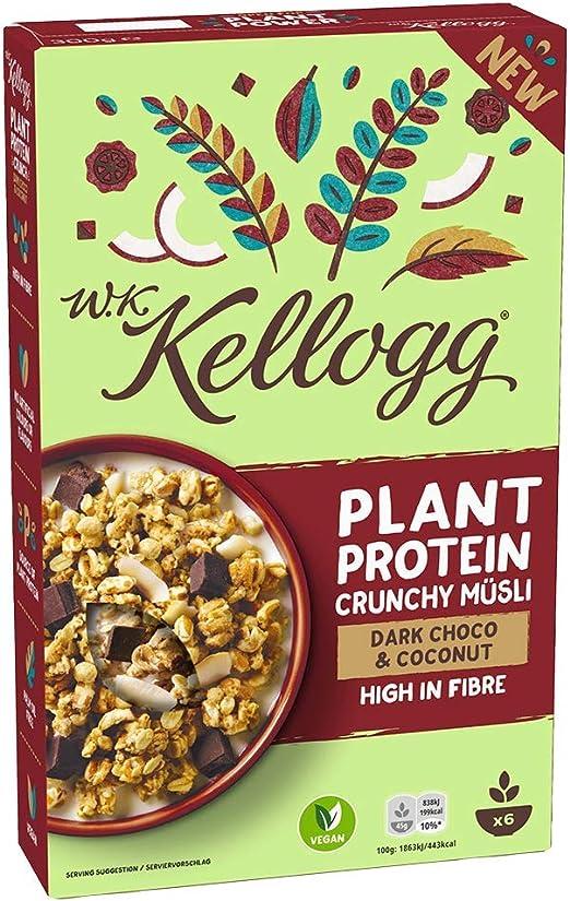 WK KELLOGG Crunchy Müsli Plant Proteína vegana y libre de aceite de palma, fuente de proteínas vegetales, 300 g