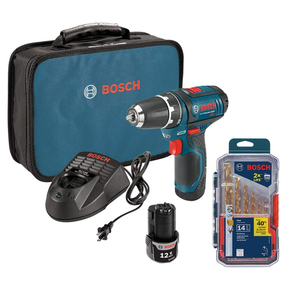 Bosch PS31-2A 12V Max Lithium-Ion 3/8-Inch 2-Speed Drill/Driver Kit with TI14 Titanium Metal Drill Bit Set