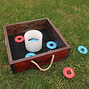 sports festival wood washer toss game set for backyard games lawn