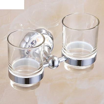 portavasos de porcelana azul y blanco de oro doble/accesorios de baño/Vidrio de
