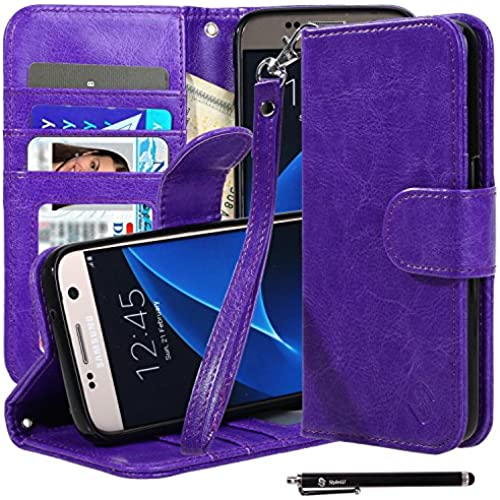 S7 Case, Galaxy S7 Case, Style4U Premium PU Leather Stand Wallet Case with ID Credit Card / Cash Slots for Samsung Sales