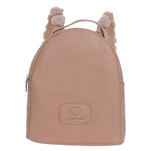 Love Moschino - Bolso mochila de cuero sintético para mujer Beige camel Alt. cm 30 Larg. cm 25 Profon. cm 12: Amazon.es: Zapatos y complementos