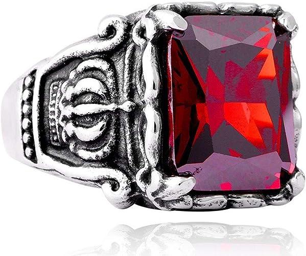 AONEW Engagement Wedding Vintage Ring Set Black Gold 2pcs Round Ruby Cz Size 6-10