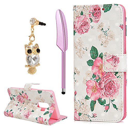 Galaxy S9 Plus Case  Flip Folio Kickstand Case Premium Pu Leather Tpu Inner Bumper 3D Basso Relievo Painting Shockproof Hand Straps Purse Credit Card Slots Slim Fit Protective Cover By Yokirin  Rose