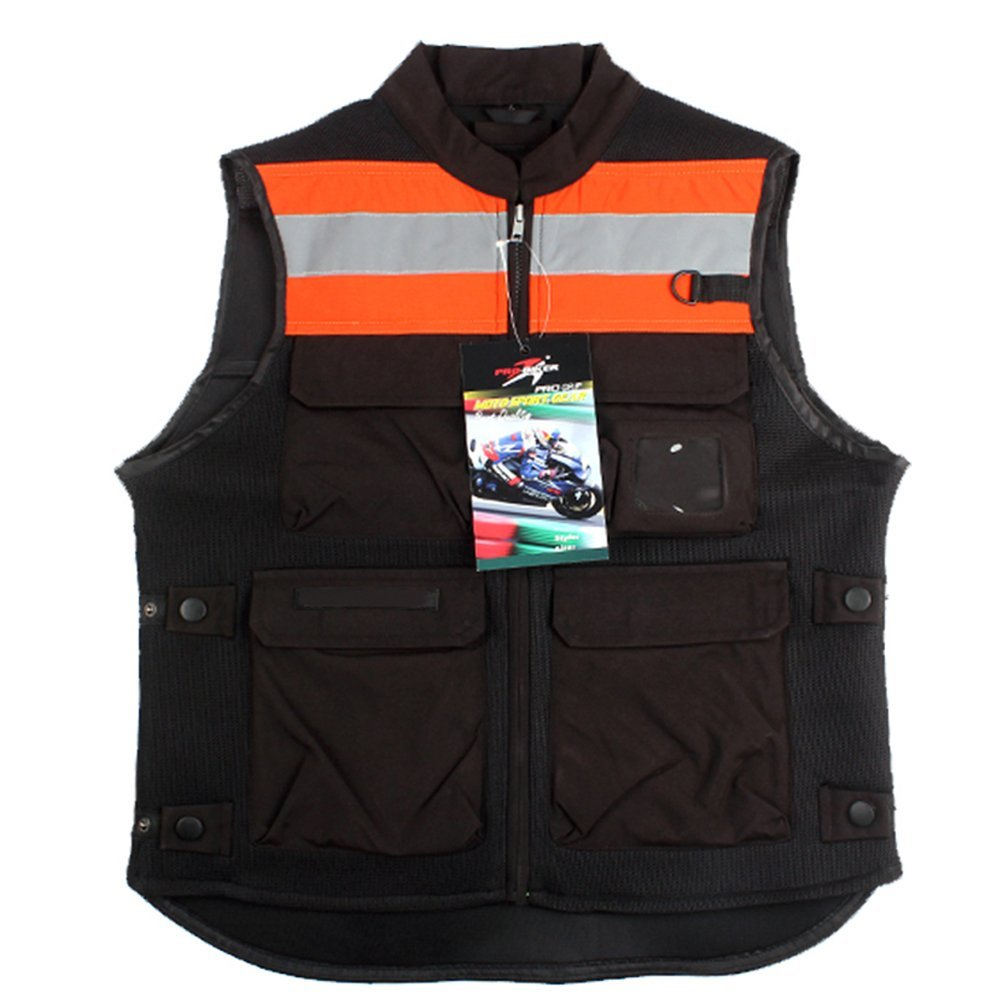 A.B Crew Reflective Motorcycle Biker Vest with Pockets High Visibility Base Safety Vest for Cycling Sport Street Racing, Orange XL