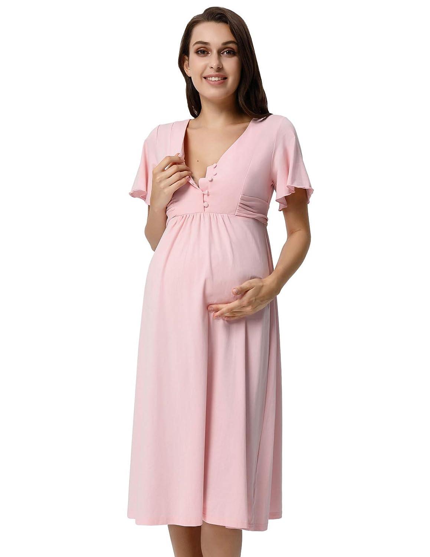GRACE KARIN Vestido Premamá para Mujeres Embarazadas Mangas Cortas Cuello V Maternidad: Amazon.es: Ropa y accesorios