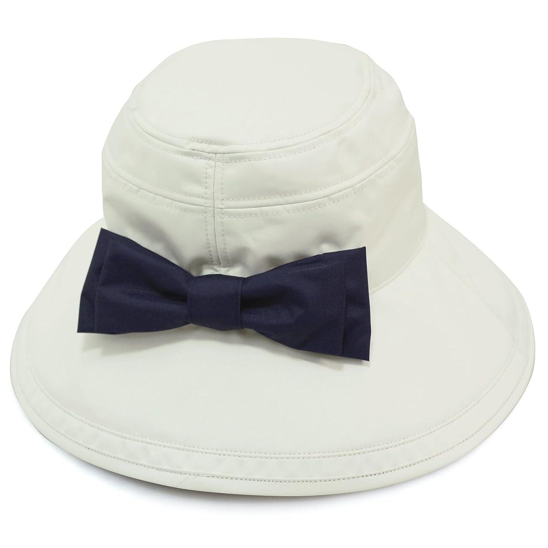 Rose Blanc(ロサブラン) 100%完全遮光 帽子 リボンハット12cm(ポケット付) B06XDGG2QB  Ivory (アイボリー(R/ネイビー))