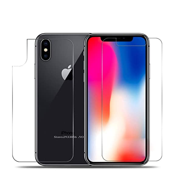 finest selection d8461 6a3fe iPhone X Front and Back Screen Protector, iKNOWTECH Front + Back Rear [9H  Hardness 0.26 mm 2.5D] Premium Ultra-Clear Anti Scratch/Bubble Free  Tempered ...