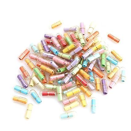 Mensajes para botellas en cápsulas (50 unidades, plástico transparente, con forma de minipíldoras