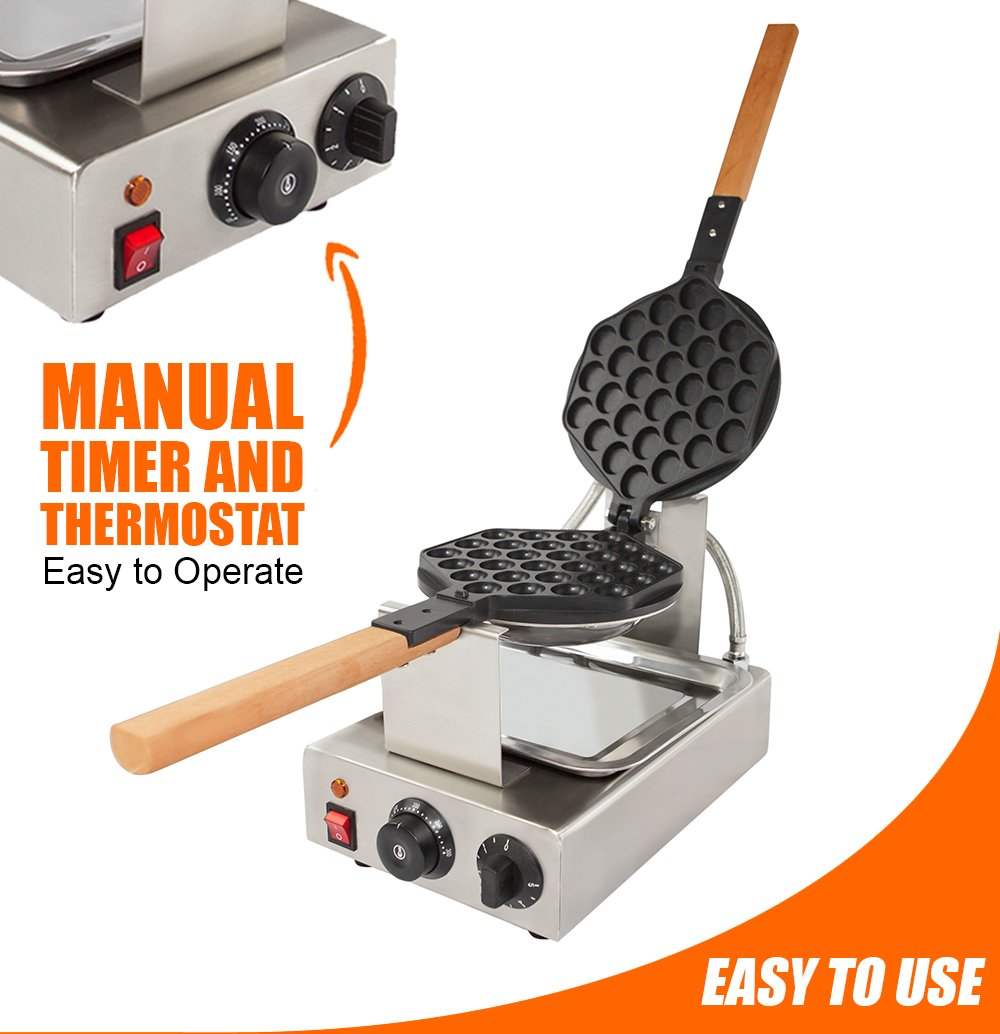 TOP Version Puffle Waffle Maker Professional Rotated Nonstick FY-6 NP-547(Grill / Oven for Cooking Puff, Hong Kong Style, Egg, QQ, Muffin, Cake Eggettes and Belgian Bubble Waffles) (110V with US Plug) by ALD Kitchen (Image #2)