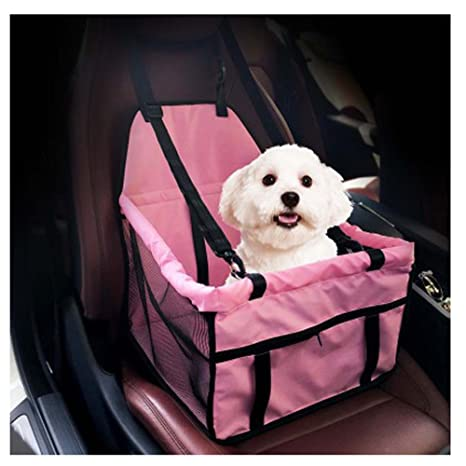 Saymequeen Collapsible Pet Car Booster Seat Small Dogs Front Covers Protector Pink