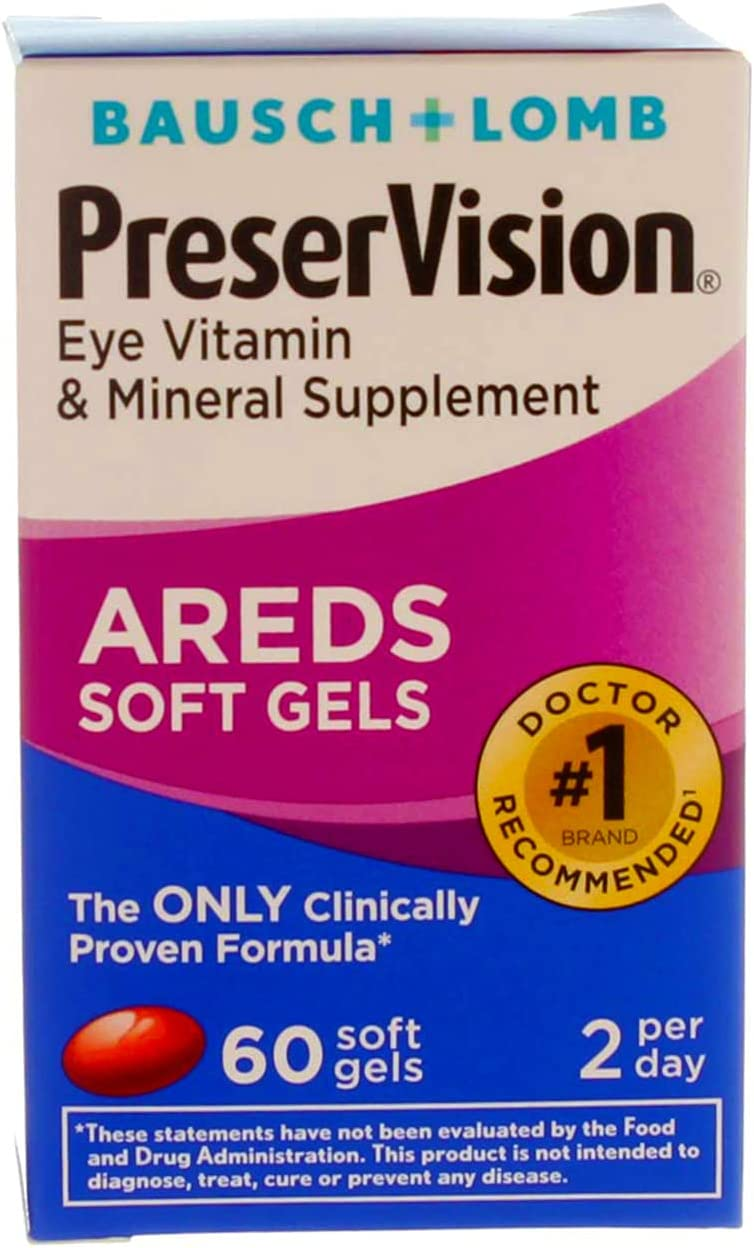 PreserVision AREDS Eye Vitamin & Mineral Supplement - 60 Softgels, Pack of 4