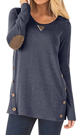 09668df2d67 Women Long Sleeve Round Neck Faux Suede Tunic Tops with Buttons Cotton  Casual Solid Color Blouses