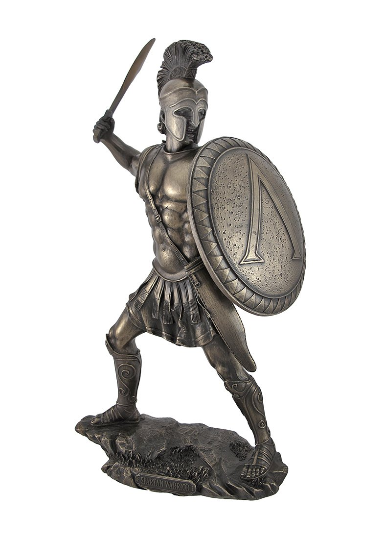 Veronese Design Bronzed Spartan Warrior with Sword and Hoplite Shield Statue