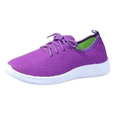 f7986a4af7e191 Ansenesna Sneaker Damen Schwarz Rot Flach Schnüren Sport Elegant Schuhe  Mädchen Mesh Vintage Outdoor Sportschuhe (
