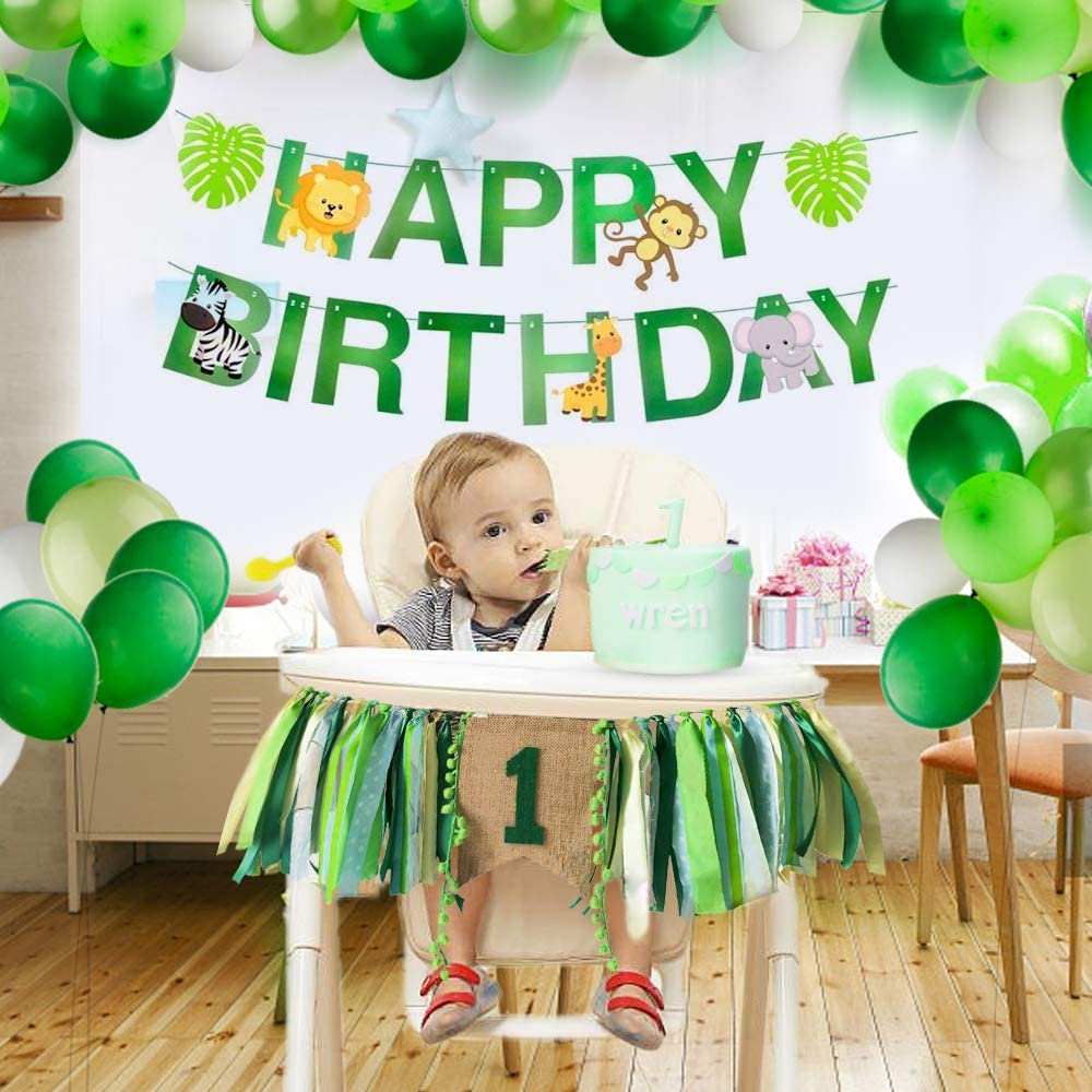 Xunlong Baby 1st Birthday Decorations One Highchair Banner Safari Zoo Animals Happy Birthday Banner with Jungle Themed Colorful Balloons Green