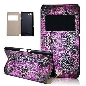 Seedan Sony Xperia E3 Case - Sony E3 Leather Case Book Fold Protective Flip Case Flip Wallet Stand Case Cover with Stand for Sony Xperia E3 Case - Purple Flower