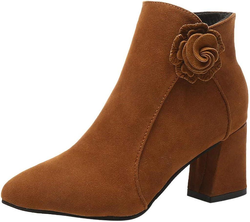 koperras Bottines Pour Femmes, Dames De Mode Solide Fleur CôTé Fermeture à GlissièRe Bout Pointu Bottes Occasionnelles Chaussures