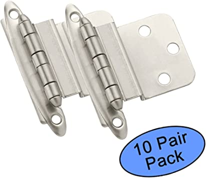 Amerock BP3428-3 Polished Brass Face Mount Self Closing 3//8 Inset Hinges 10 Pair Pack