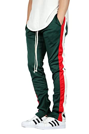 da3be54eac13c3 EPTM Men's Green-RED-White Double Stripe Track Pants (M) at Amazon ...