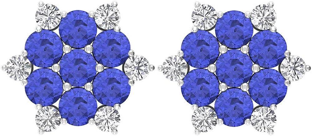 Pendientes de tuerca de racimo, piedra preciosa redonda de 1,90 quilates, diamantes HI-SI de 3 mm de tanzanita, pendientes de copo de nieve, regalo de cumpleaños para ella, tornillo