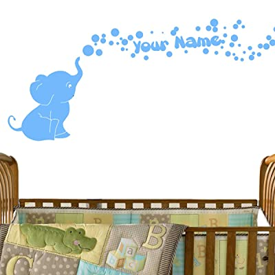 Elephant Bubbles Vinyl Wall Decal with Your Personalized Name Nursery Decor Great Gift (Light Blue) : Baby