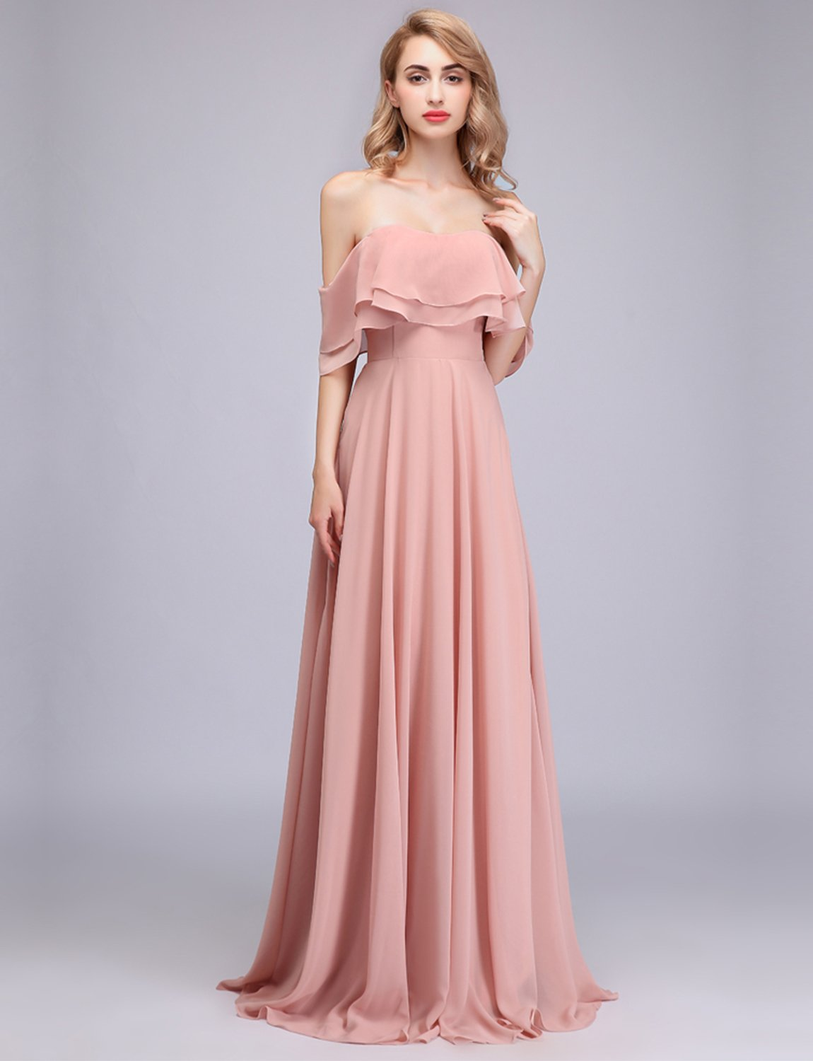 160ba639a286 CLOTHKNOW Strapless Chiffon Bridesmaid Dresses Long with Shoulder Ruffles  for Women Girls to Wedding Party Gowns larger image