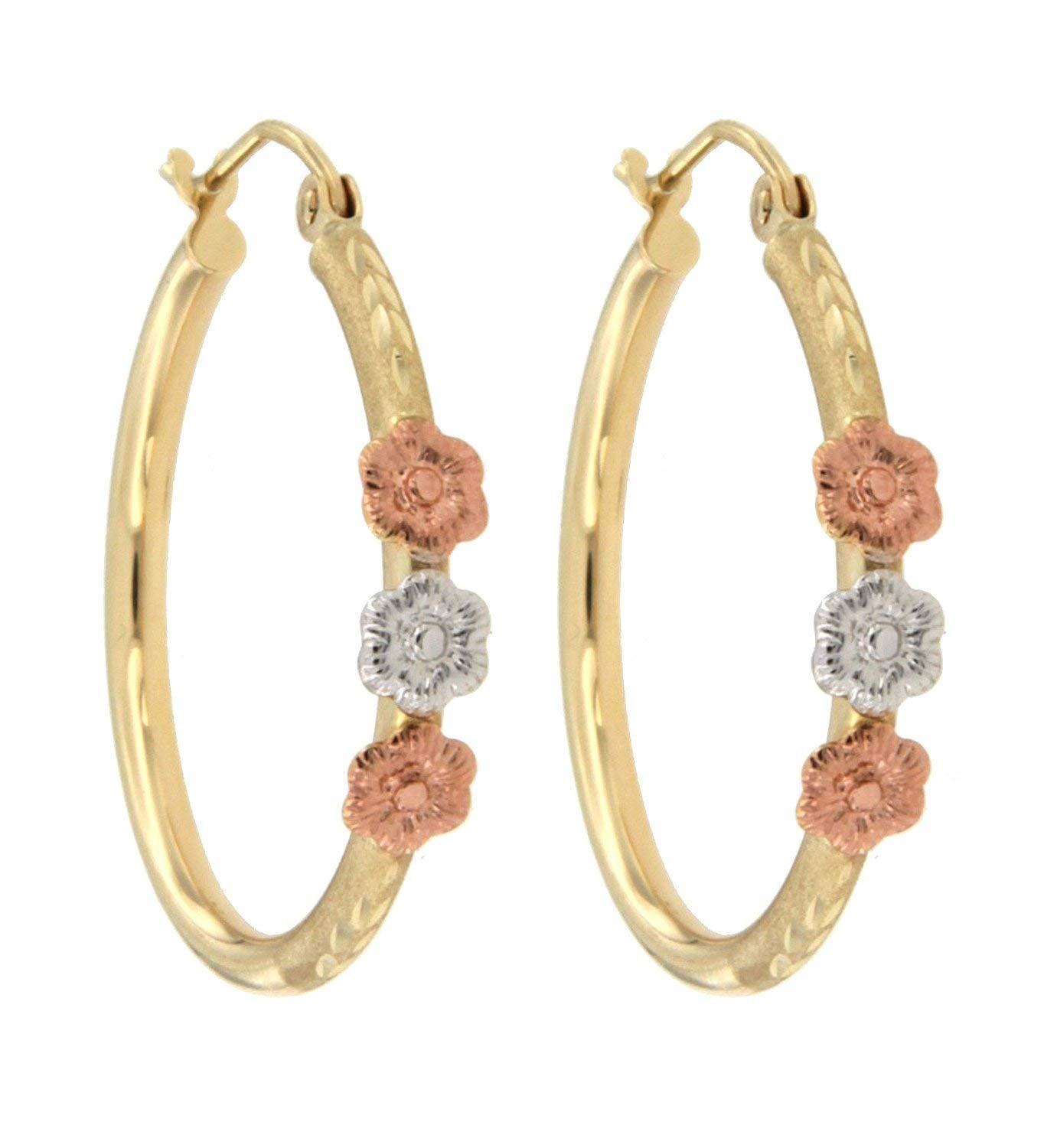 """14k Gold Earring for Women Unique Jewelry for Everyday TousiAttar Tri Color Nice flowers Hoop Earrings With Roses Size 1/"""""""
