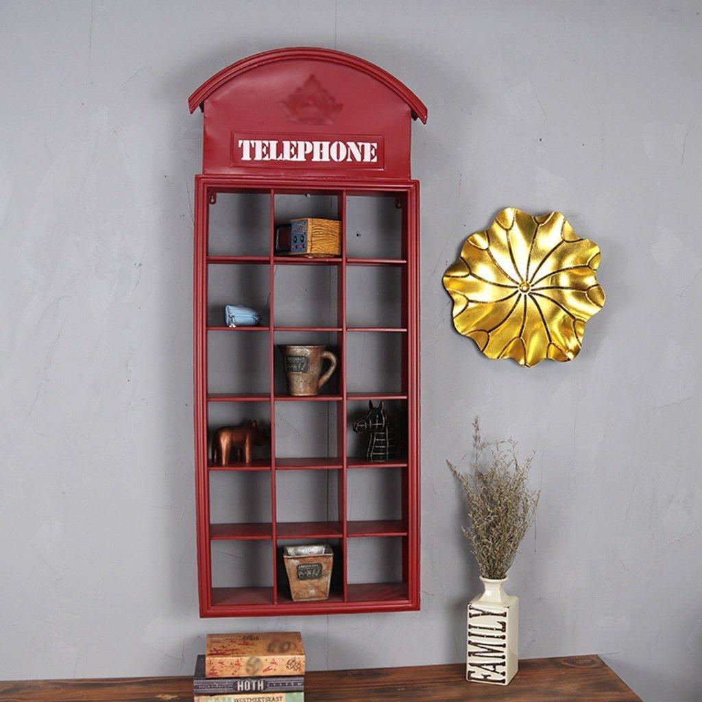 YCT 棚レトロ電話ストラップ格子鉄フローティング壁の装飾棚 B07RMHXPWG