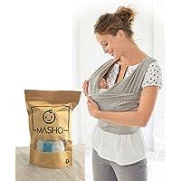Fular elástico/Baby wrap (portabebés), rebozo para múltiples amarrados y posiciones, Gris, 100% algodón respirable con spandex, para bebés de 0 a 15 kg