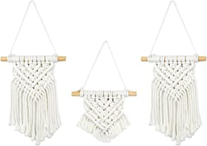 """LESEN Small Macrame Wall Hanging ,Boho Art Woven Wall Decor Chic Home Decoration for Apartment Gallery Bedroom Living Room , 3 Pack,10"""" L x 7.5"""" W and 6"""" L x 7.5"""" W"""
