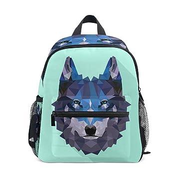 FANTAZIO Mochilas Niños Wolf Aqua Background School Bookbag Daypack