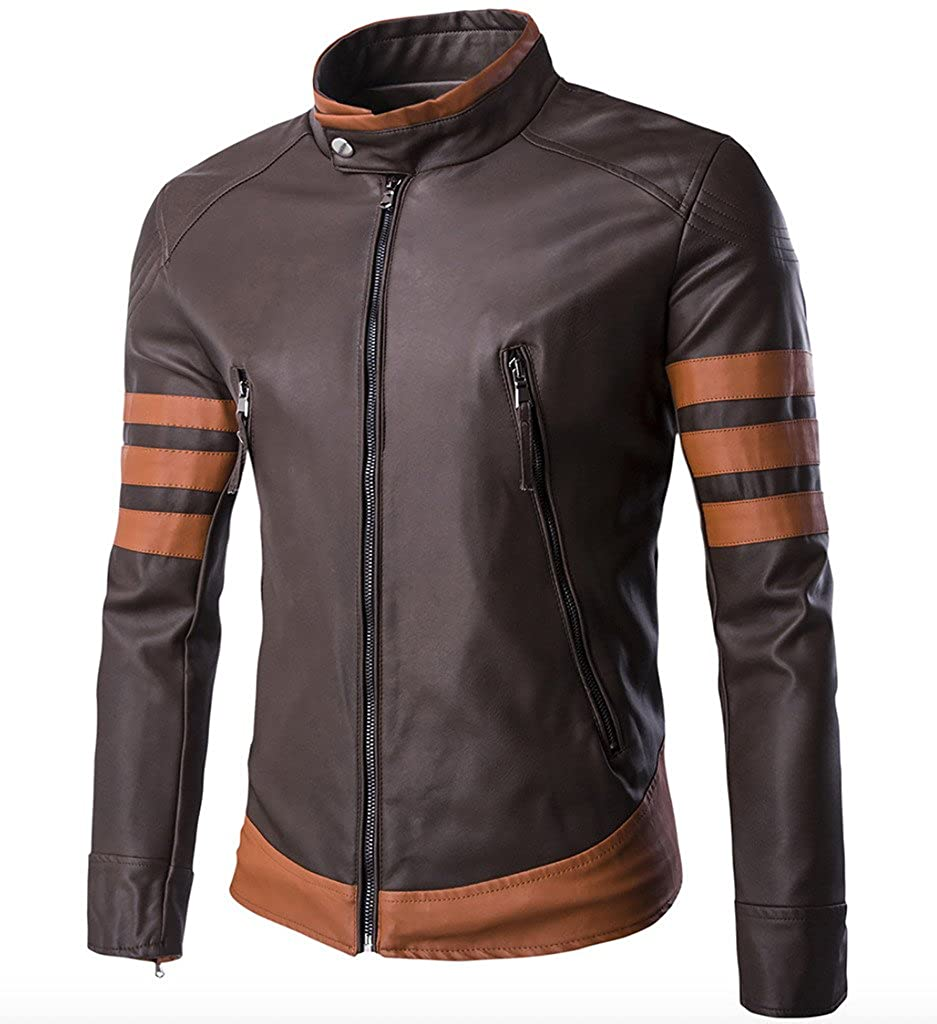 WSLCN X Men Vintage Faux Leather Motorcycle Jacket Brown XY999