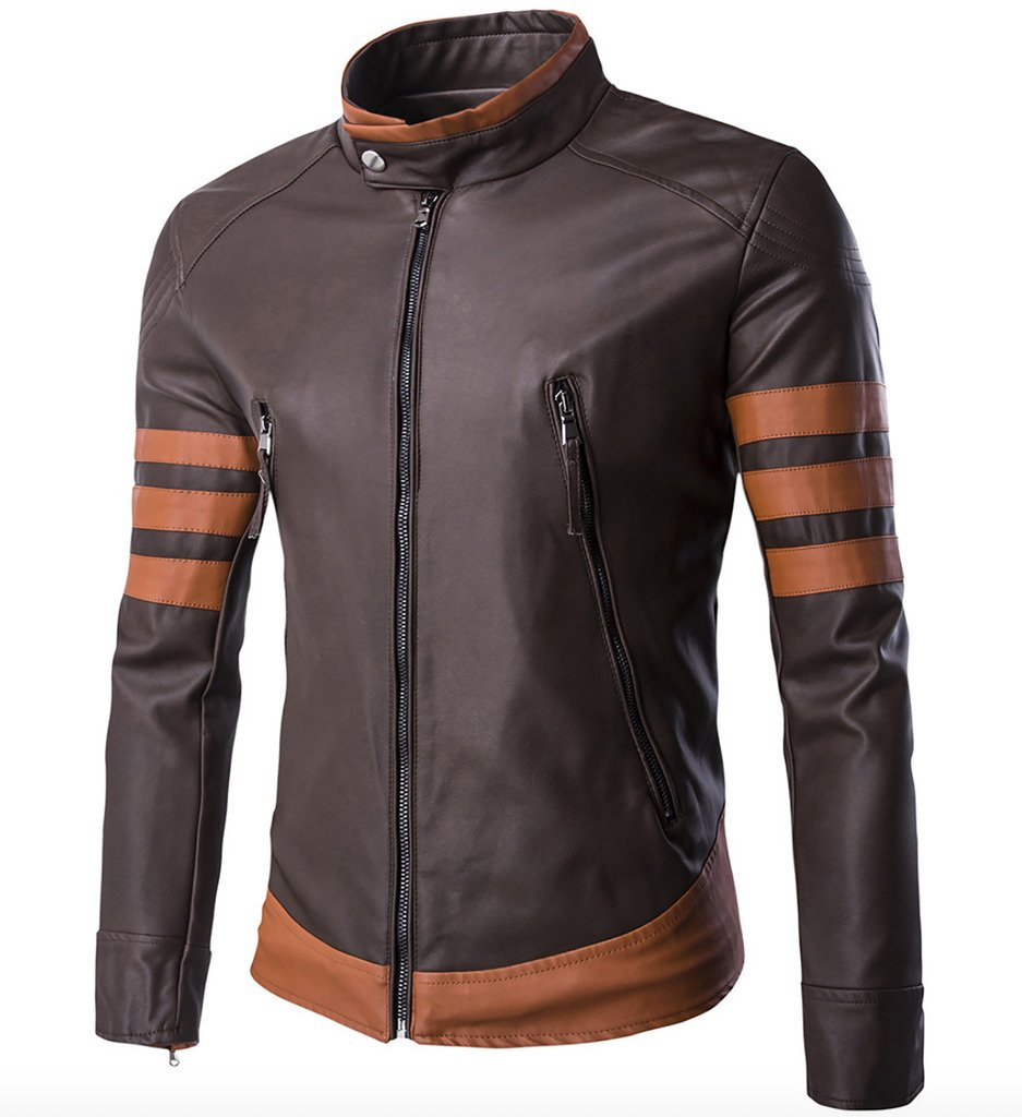 WSLCN X Men Vintage Faux Leather Motorcycle Jacket Brown US L (Asian 3XL) by WSLCN