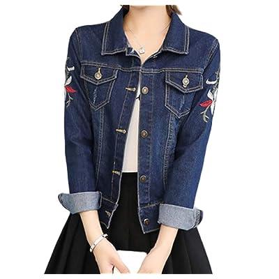 Andopa Botón bordado de manga larga chaqueta de Jean Escudo Short Denim para Mujeres: Ropa y accesorios