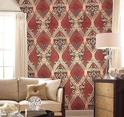 Old Retro Vintage Style Paper Slavyanski Wallpaper European Double Rolls wallcovering Wall Decor coverings Textured Pattern Patterned 3D Modern Textures Burgundy Beige Silver Sparkles Glitters