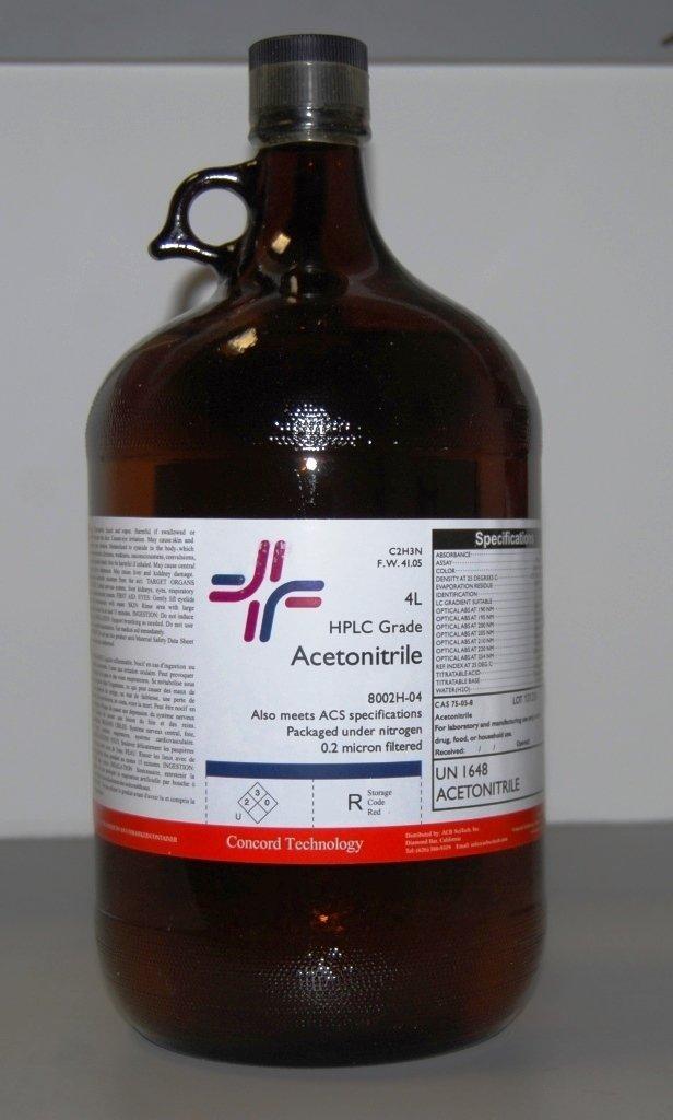 Acetonitrile, HPLC, ACS, 99.9% Min, 4-Liter, Case of 4