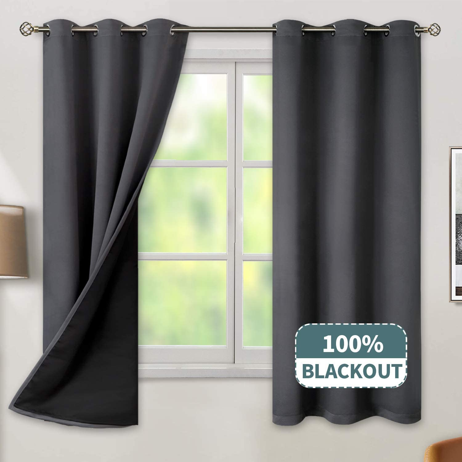 BGment Thermal Insulated 100% Blackout Curtains for Bedroom with Black Liner, Double Layer Full Room Darkening Noise Reducing Grommet Curtain (42 x 63 Inch, Dark Grey, 2 Panels)