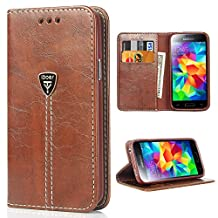 Samsung Case Galaxy S5 Flip Cases, S5 Leather Case iDoer Slim Wallet Magnetic Leather Flip Protective Case Cover for Samsung Galaxy S5 NEO - Coffee