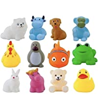 Kidzbell 12 Piece Toddler Baby Bathtub Bathing Chu Chu Squeeze Bath Toys Non-Toxic BPA Free, Animal Shape