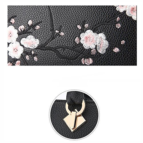 Chinese black Embroidered Shoulder girls Women Handbag Litchi Pu For Crossbody Messenger Pattern Black Howoo Style Bag BUw5q6n