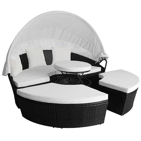 Festnight Outdoor Patio Sofa Furniture Round Retractable Canopy Sun Bed  Black Wicker Rattan