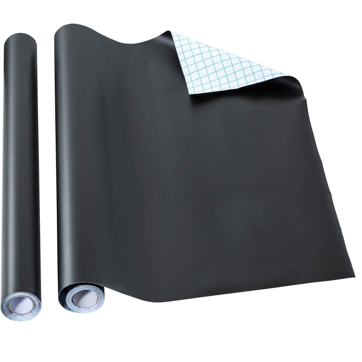 SimpleLife4U Solid Black Wood Grain Contact Paper Self Adhesive Shelf Liner  Door Countertop Cabinet Sticker 17.7