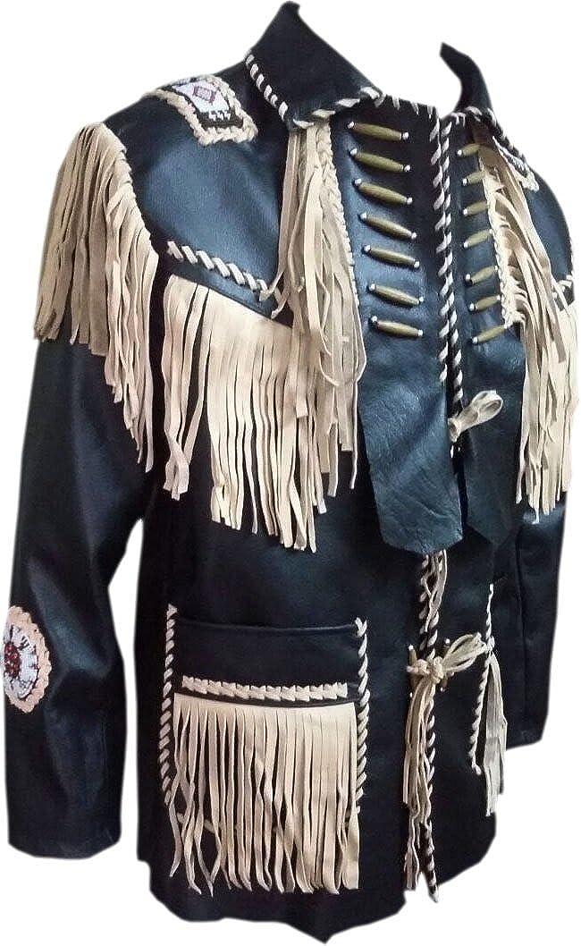 Bestzo Mens Western Lamb Leather Jacket Fringed and Beaded Black