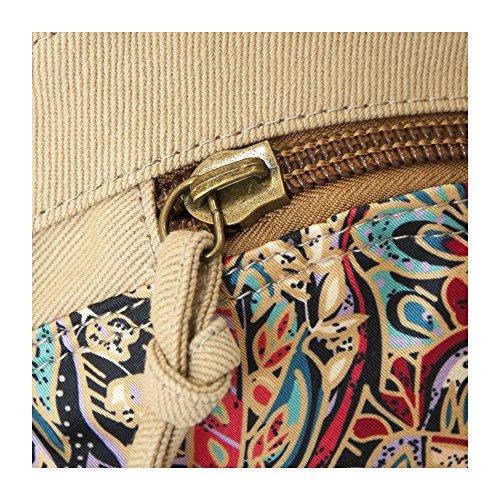 hombro Crafts Bolso L Lona de caqui marrón mujer al Graphy para arwtq6r