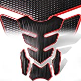 zr headlight cover - 3D 4-Piece Customize Fuel Tank Pad Decal / Sticker Perforated Black w/Red Trim