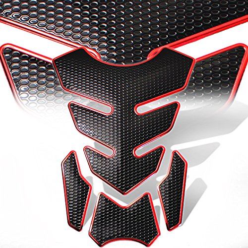 3D 4-Piece Customize Fuel Tank Pad Decal / Sticker Perforated Black w/Red Trim