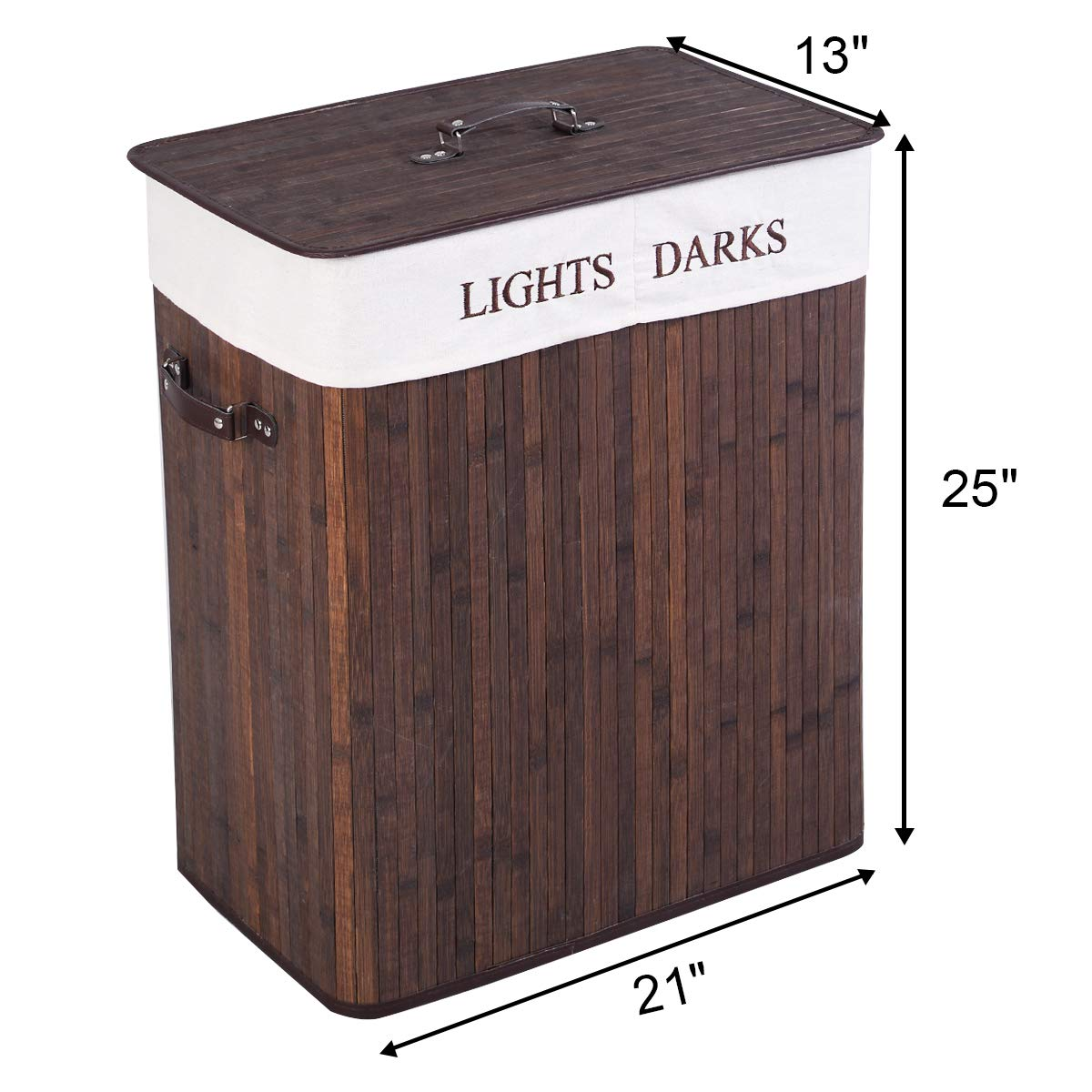 Two Sections with Large Storage GOFLAME Bamboo Laundry Basket Folding Handle Grip Brown Ideal for Bedroom Bathroom Dirty Laundry Hamper Dirty Clothes Basket Bin with Lid and Removable Liner