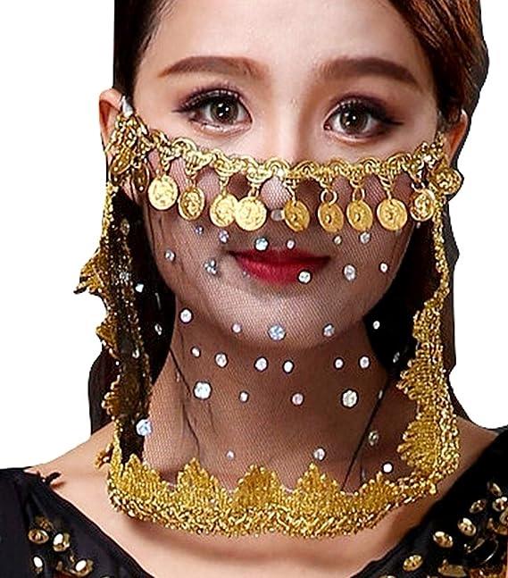 Bambina Colore Nero e Oro Danza del Ventre Ragazza Donna Carnevale Accessori Idea Regalo per Natale e Compleanno Velo odalisca Viso