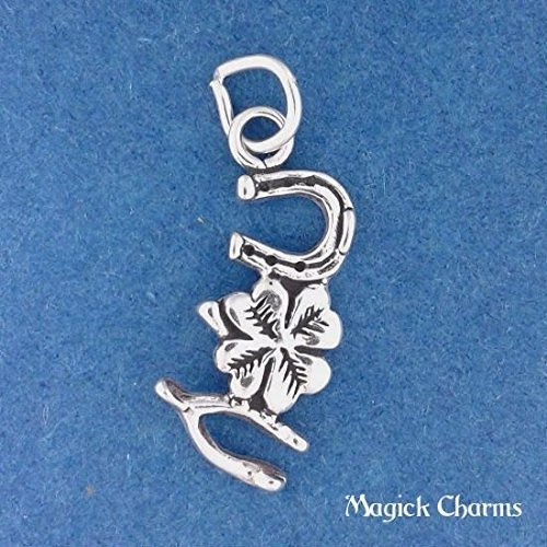 Sterling LUCKY CHARM Four Leaf Clover Horse Shoe Wishbone Charm - lp2869 Jewelry Making Supply Pendant Bracelet DIY Crafting by Wholesale (Clover Wishbone)